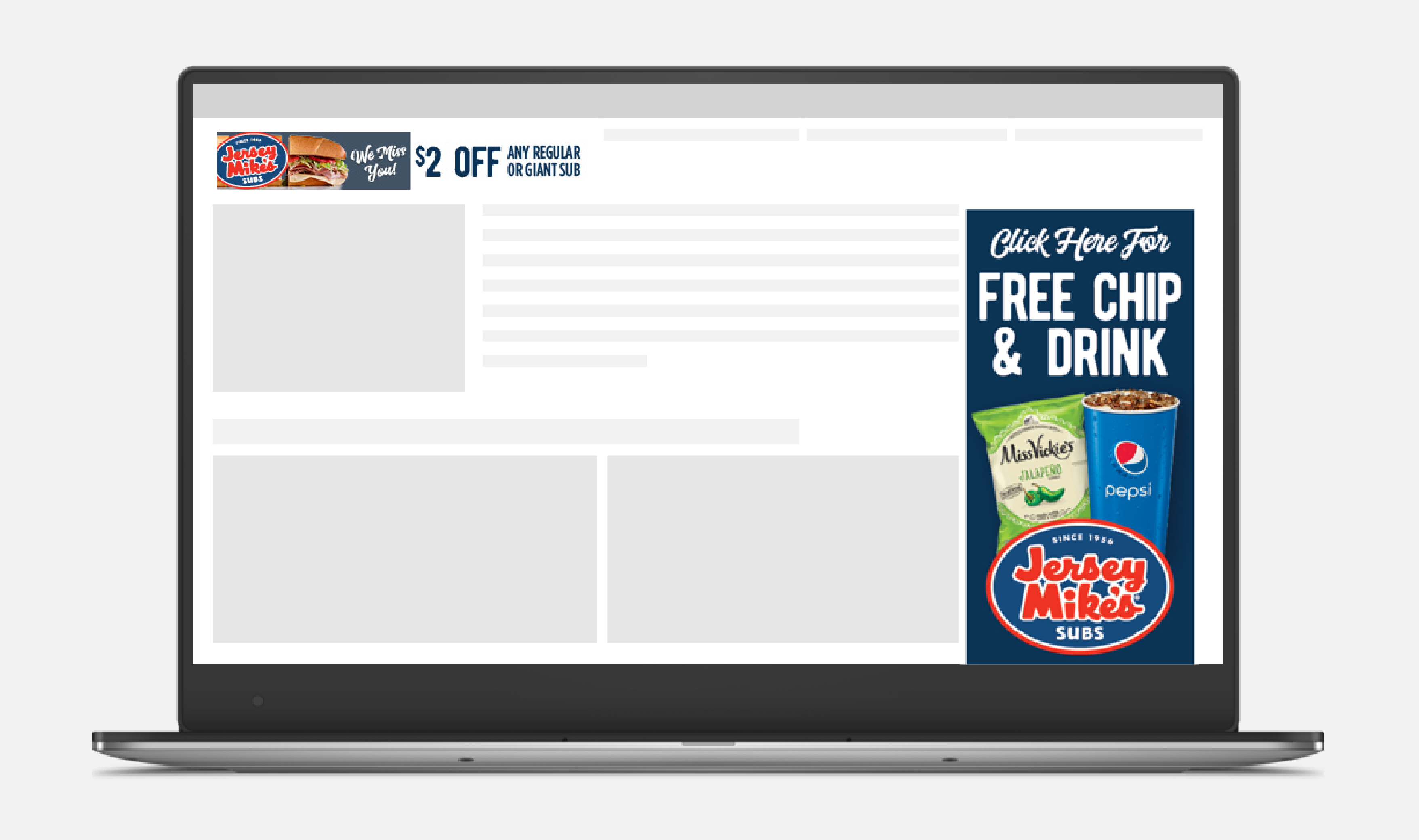 Computer screen with Jersey Mike's display ad