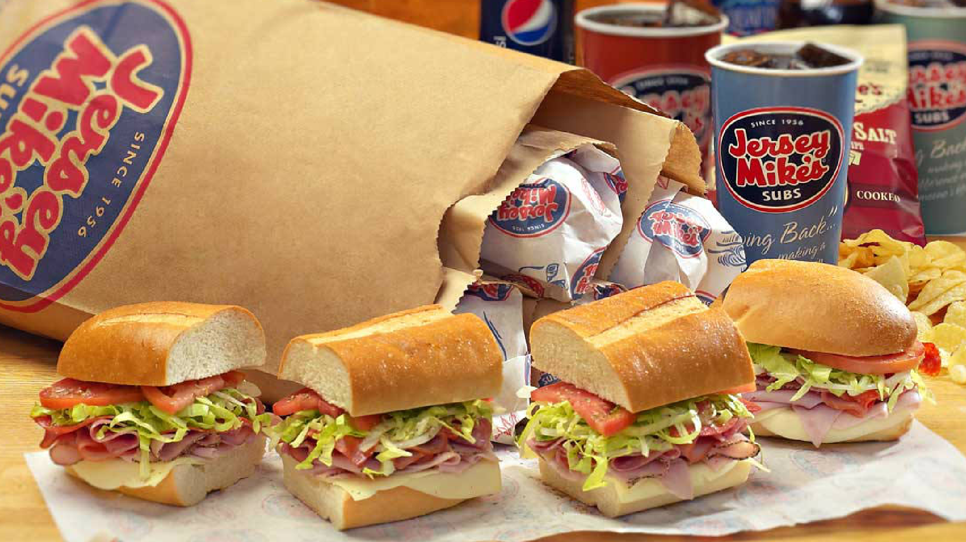 Jersey Mike's sandwich and drink