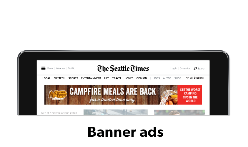 Image showing a screen with Cracker Barrel digital banner ads