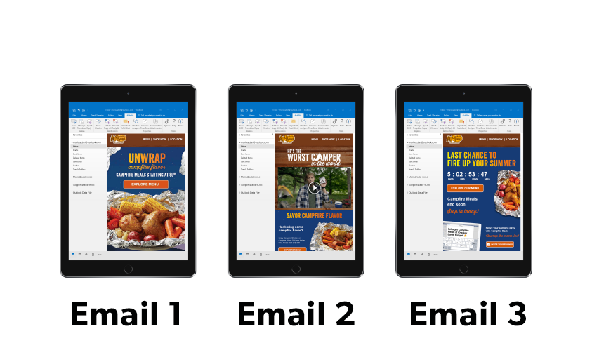 Image showing screens with Cracker Barrel email campaign