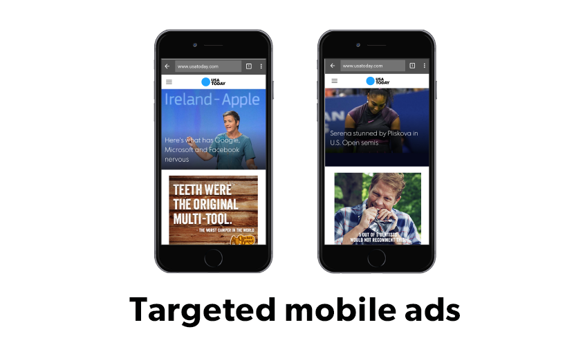 Image of two phones showing targeted Cracker Barrel mobile ads