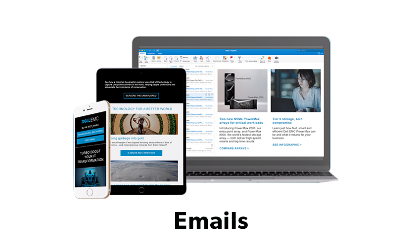 Image of screen shots of Dell EMC personalized emails