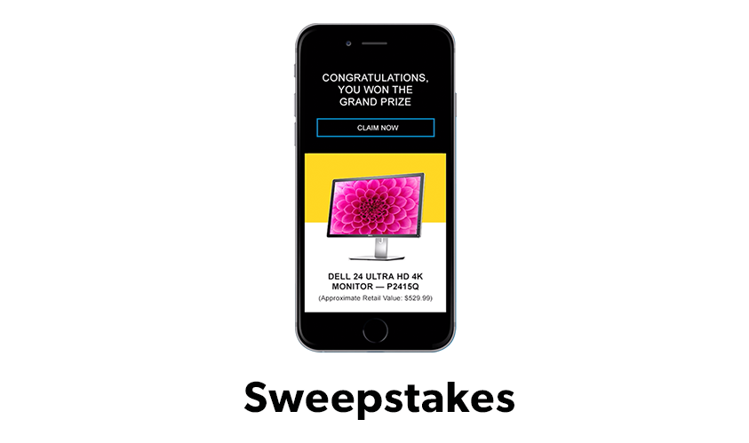 Image of Dell EMC sweepstakes showing on a mobile device