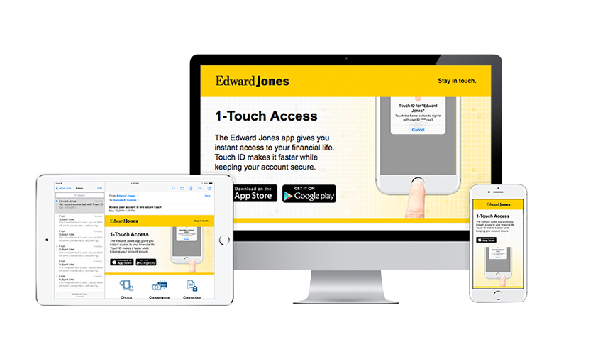 Image of computer and mobile device screens showing Edward Jones promotional materials