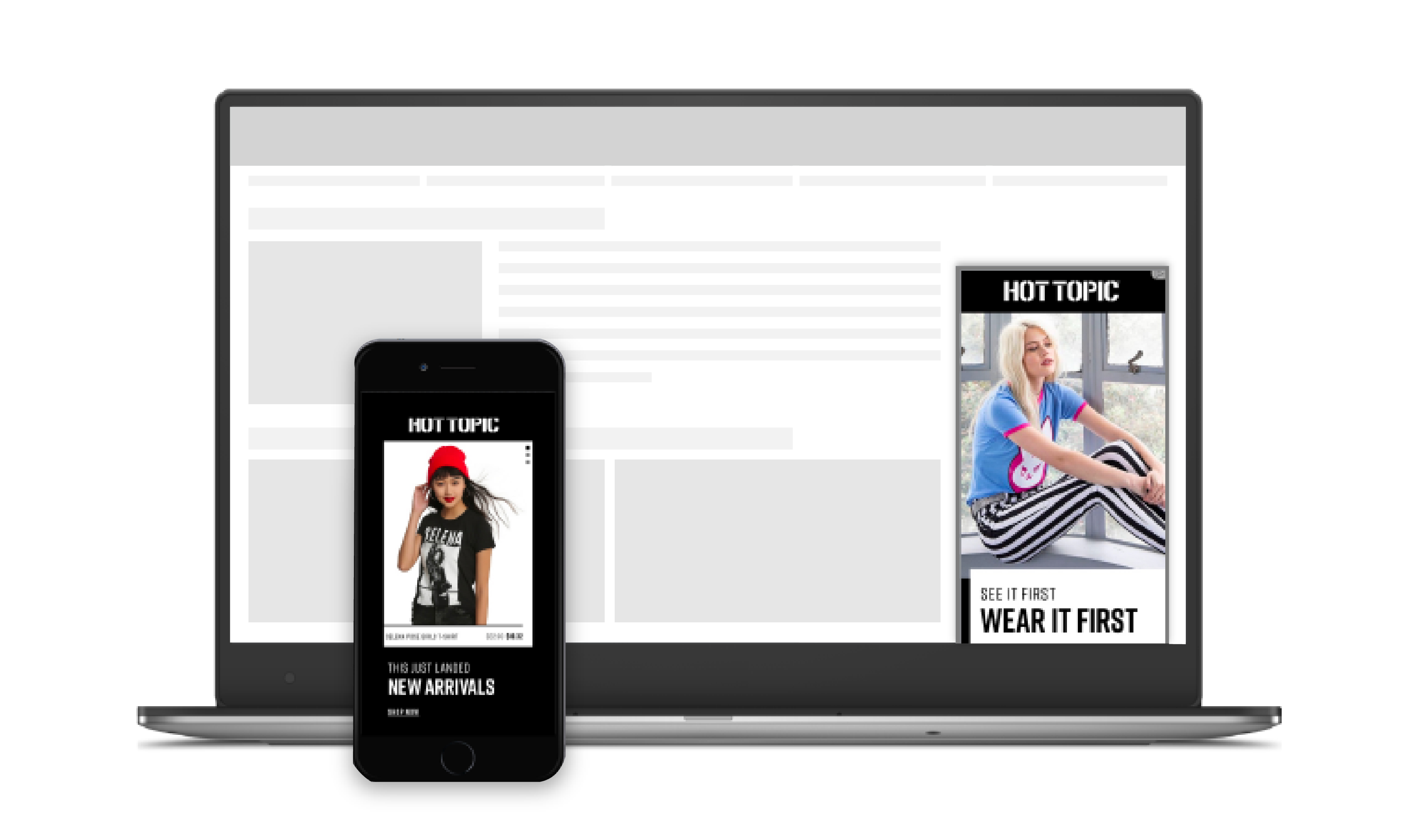Hot Topic display ads on desktop and mobile device