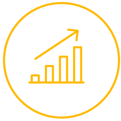 Increasing graph yellow icon