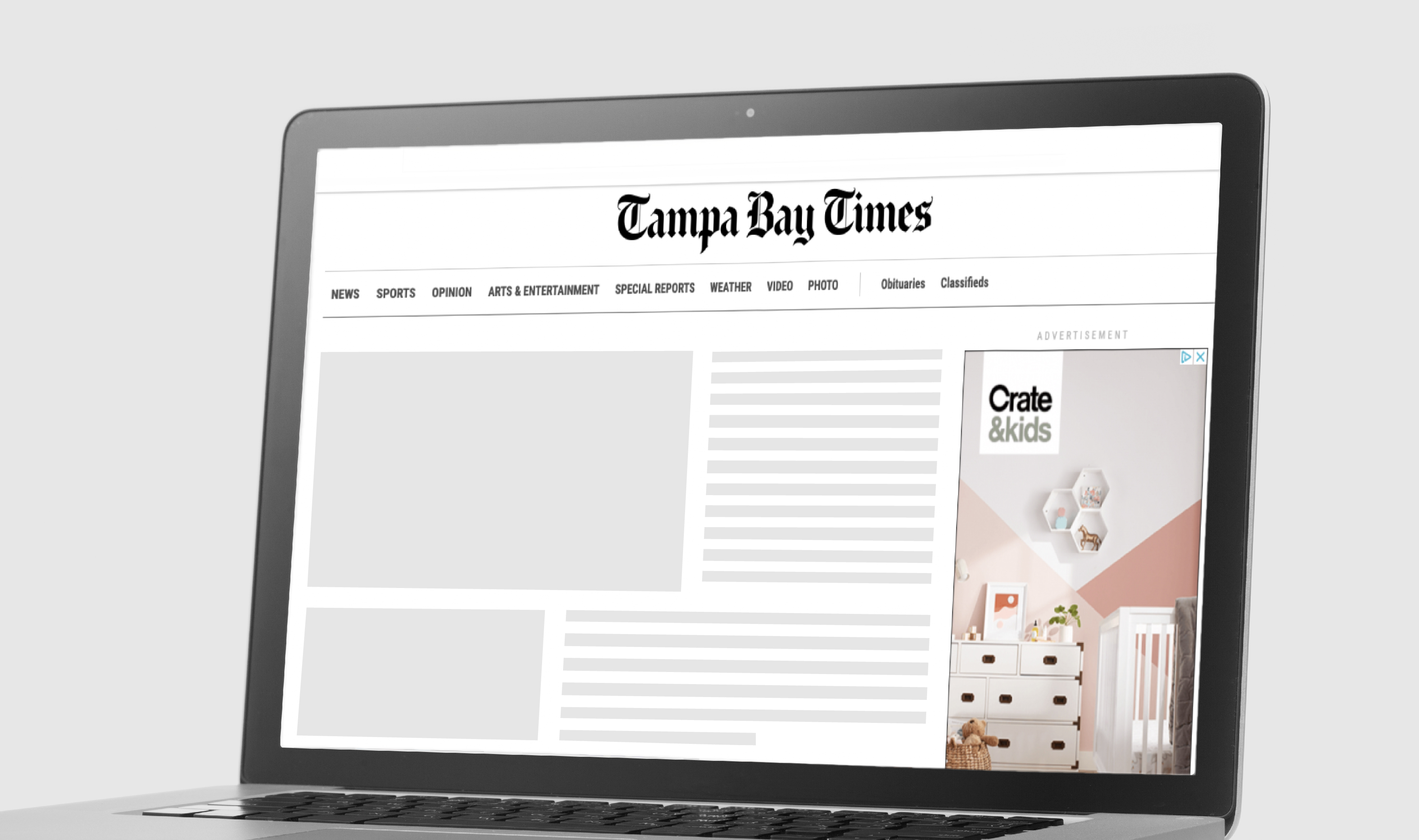 Tampa Bay Times website with display ad