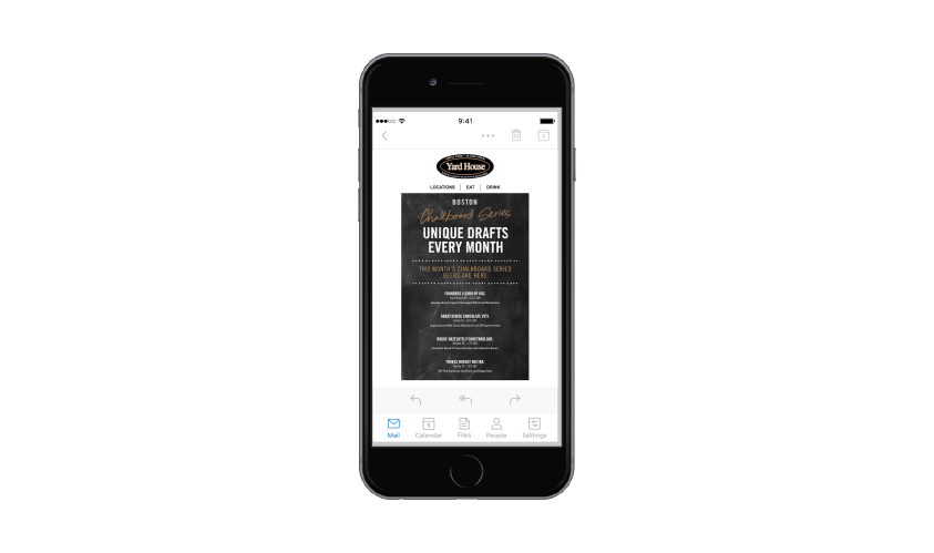 Image of Yard House email on a mobile device