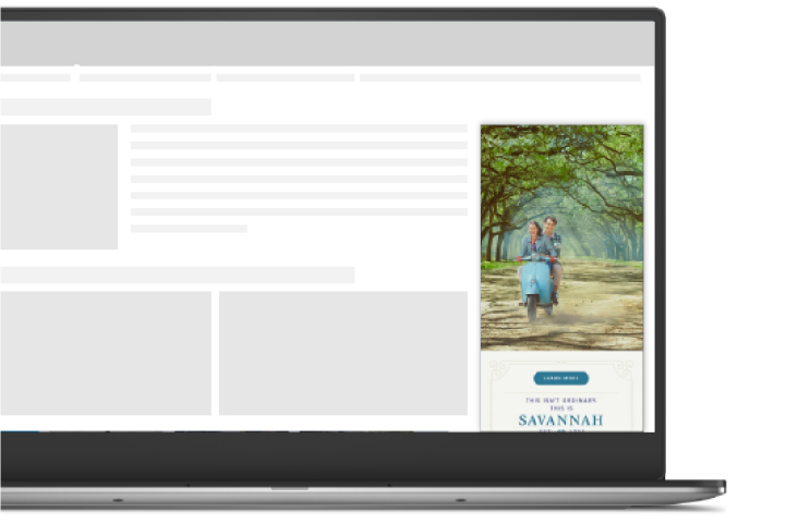 Image of a laptop screen showing a Visit Savannah ad