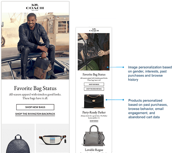 Coach email personalizatoin examples