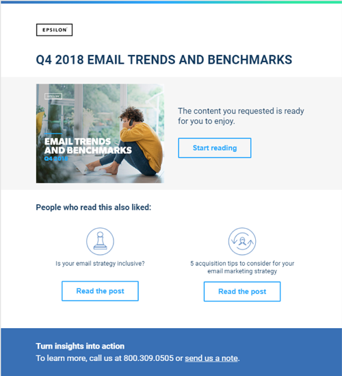Example triggered email from B2B