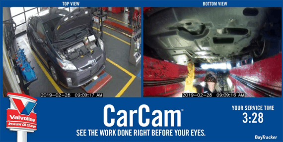Image of CarCam functionality from Valvoline